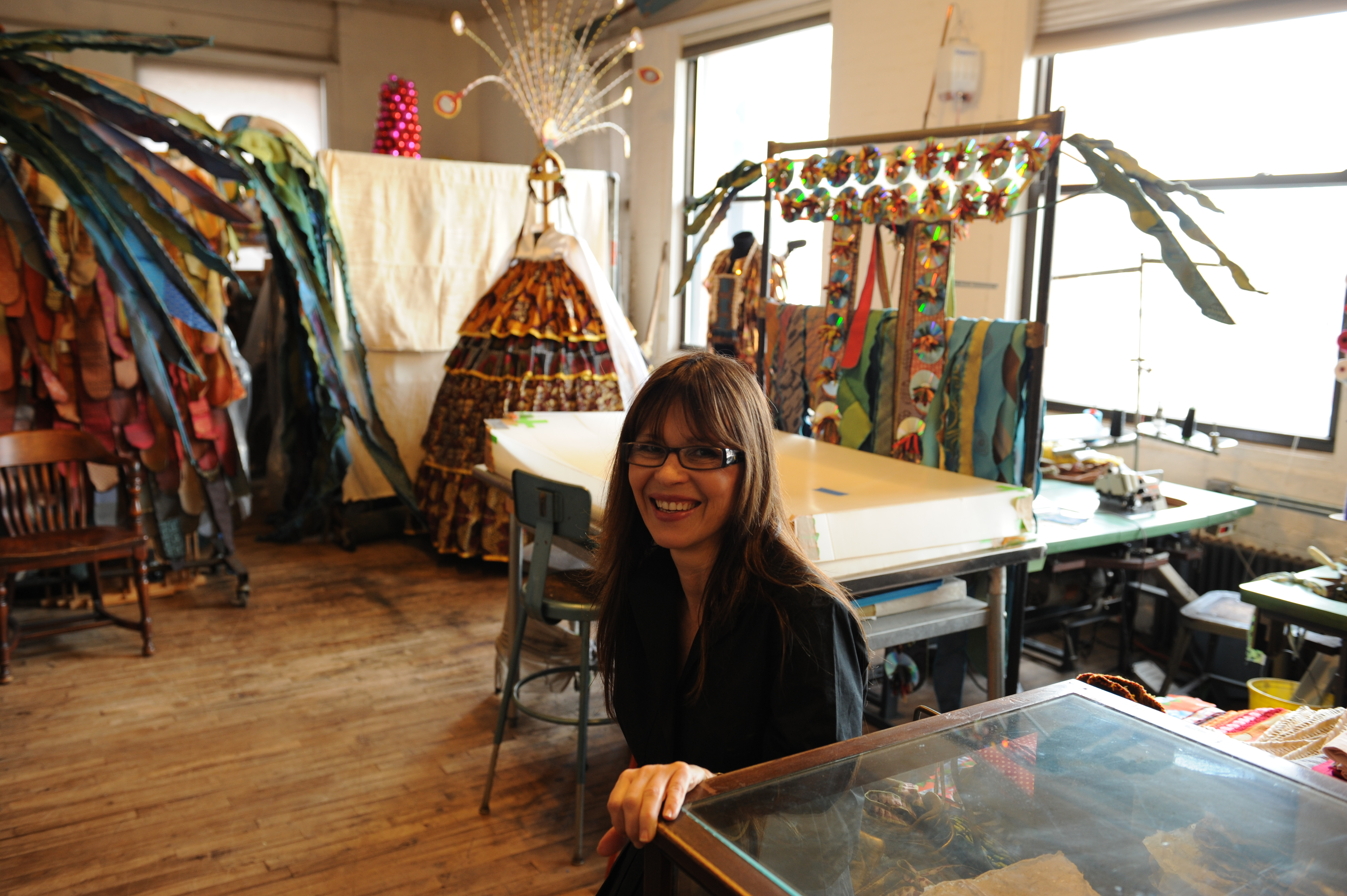 Laura Anderson Barbata at her studio in Soho with round table guests. Guests include Tim Rollins and KOS, ..Laura Anderson Barbata works in photography, video, drawing, sculpture, installation, and public art...photo © Stefan Falke